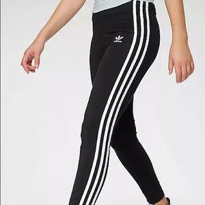 Adidas Black Leggings with White Stripes and Logo